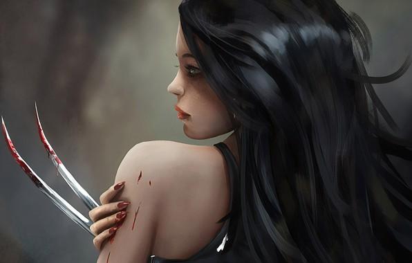 Picture Girl, blood, fantasy, blue eyes, brunette, digital art, artwork, fantasy art, claws, tank top, fantasy …