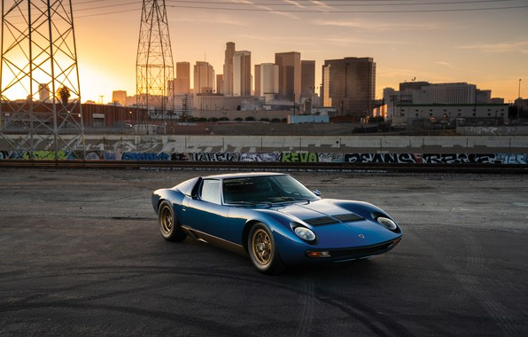 Picture City, Blue, Gold, Lamborghini Miura, P400 SV