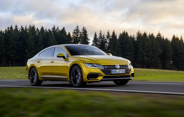 Picture field, forest, yellow, Volkswagen, 2018, R-Line, liftback, 2017, Arteon