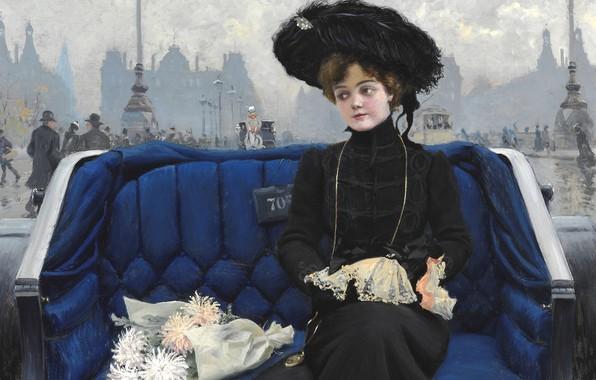 Picture Danish painter, Copenhagen, Copenhagen, 1902, Danish painter, Paul Gustav Fischer, Elegant young woman in a …
