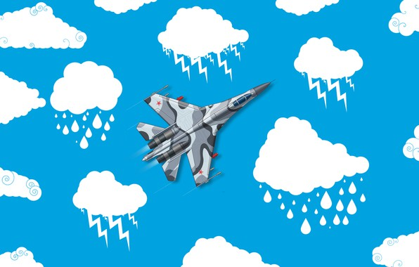 Picture Clouds, Minimalism, The plane, Fighter, Russia, Art, The view from the top, Su-27, The Russian …