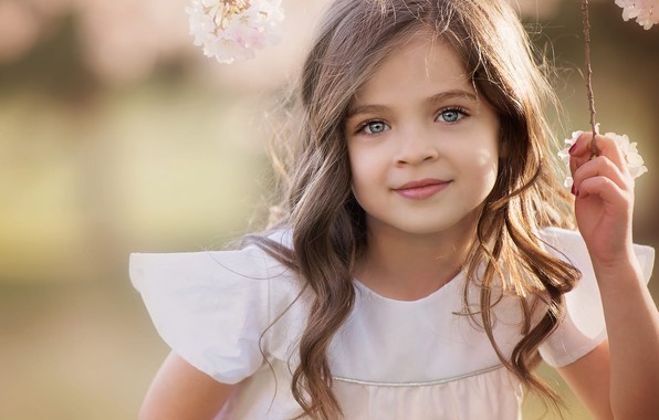 Picture flowers, face, smile, portrait, branch, girl, child, curls, Amber Bauerle