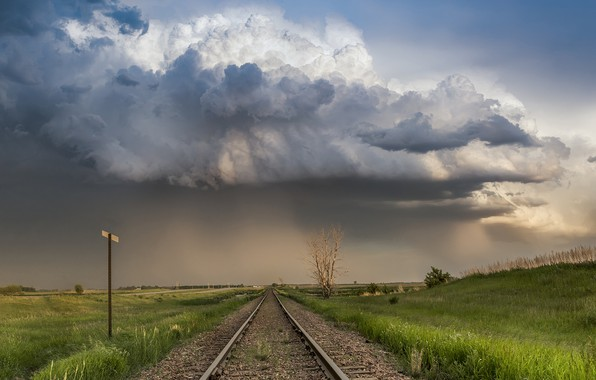 Picture grass, sky, field, landscape, nature, clouds, Railway, overcast