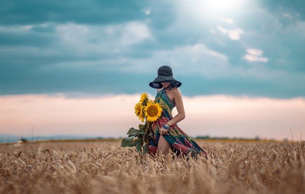 Picture field, the sky, girl, sunflowers, pose, mood, hat, dress