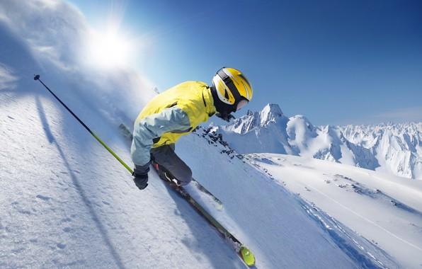 Picture photo, Winter, Snow, Sport, Movement, Helmet, Skiing