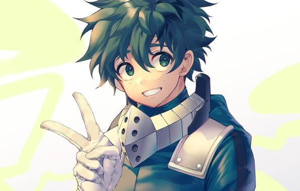 Picture look, gloves, guy, gesture, Boku no Hero Academy, Midori Isuku, My heroic academia, Izuku Midoriya
