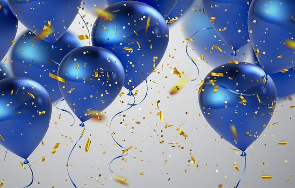 Picture balloons, blue, confetti