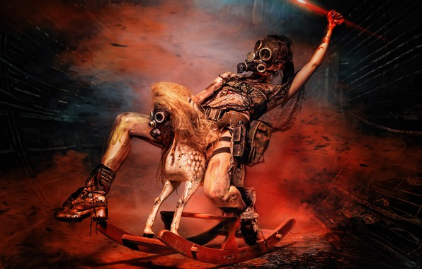 Picture girl, Apocalypse, rider, masks, wooden horse, Horsewoman of the Apocalypse, Rider Of The Apocalypse, rocking …