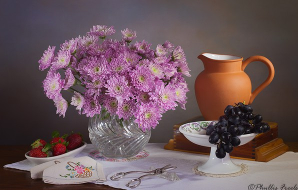 Picture flowers, style, berries, background, strawberry, grapes, vase, pink, pitcher, still life, chrysanthemum, scissors, napkin