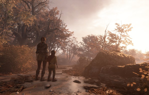 Picture autumn, girl, trees, a plague tale: innocence