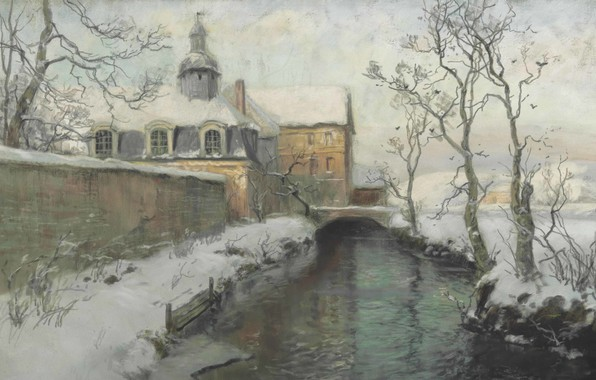 Picture Winter, Winter, Frits Thaulov, Frits Thaulow, Norwegian landscape painter, Norwegian Impressionist painter