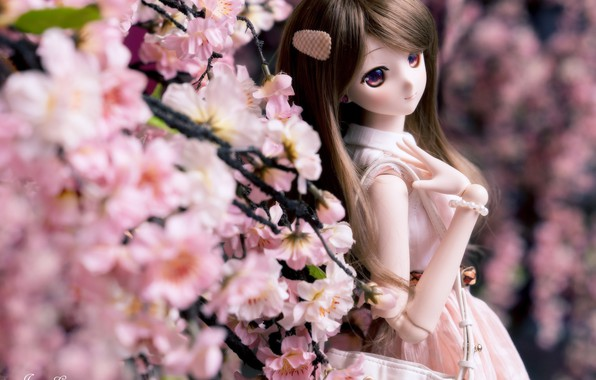Picture girl, flowers, hair, spring, doll
