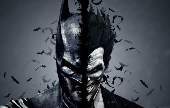 Picture Batman, joker, dual monitor, the dark background