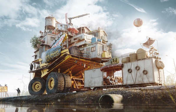 Picture transport, people, pipe, pond, The Free Autonomous Republic of Dieselville