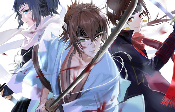 Picture katana, Japanese clothing, Okita Souji, back to back, three guys, touken ranbu, Dance of swords, …