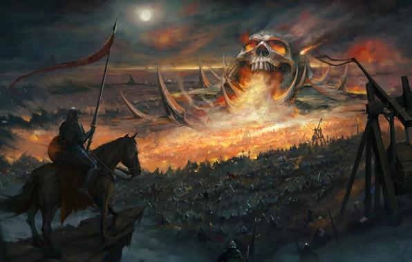 Picture horse, skull, armor, battle, fantasy, art, knight