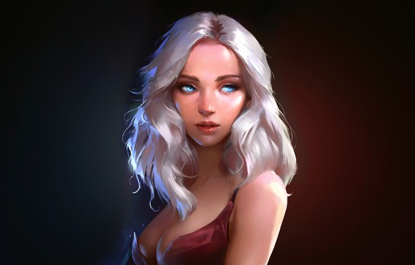 Picture Girl, cleavage, dress, breast, art, blue eyes, lips, painting, digital art, artwork, chest, portrait, white …