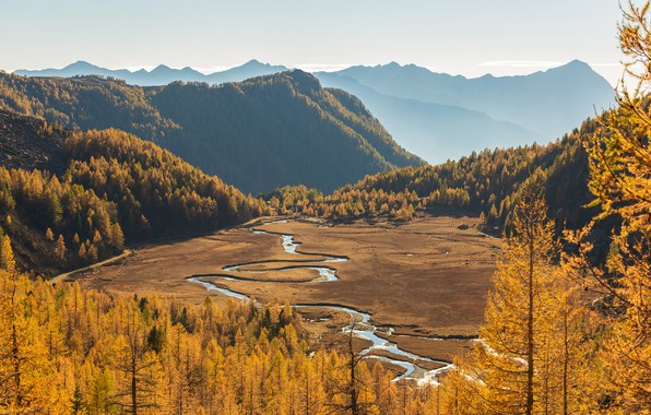 Picture autumn, forest, the sky, the sun, trees, mountains, river, valley, Italy, the view from the ...