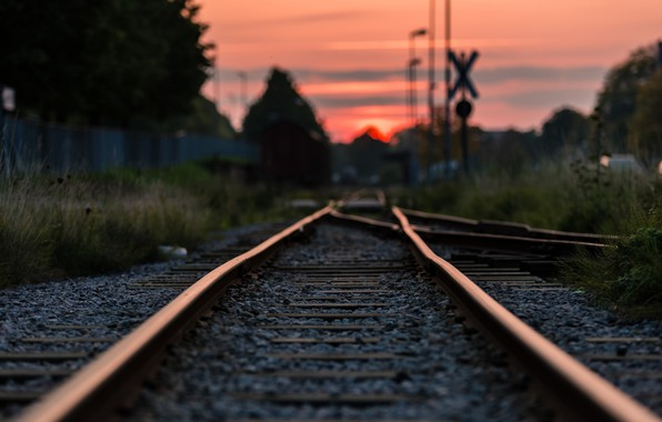 Picture road, rails, the evening