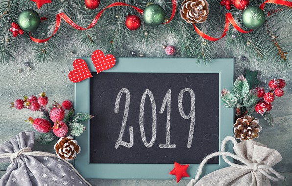 Picture background, holiday, the inscription, balls, New year, bumps, decor, 2019