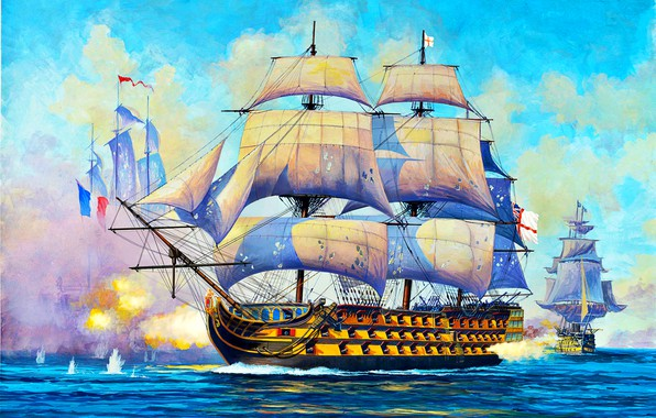 Picture ship of the line, sailing, Royal Navy, UK, HMS Victory, first grade, 104-gun