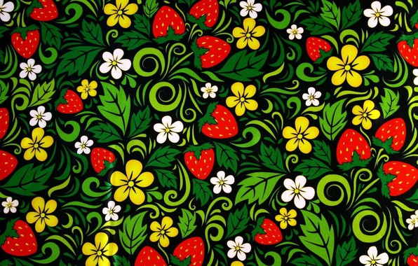 Picture berries, texture, painting, Khokhloma