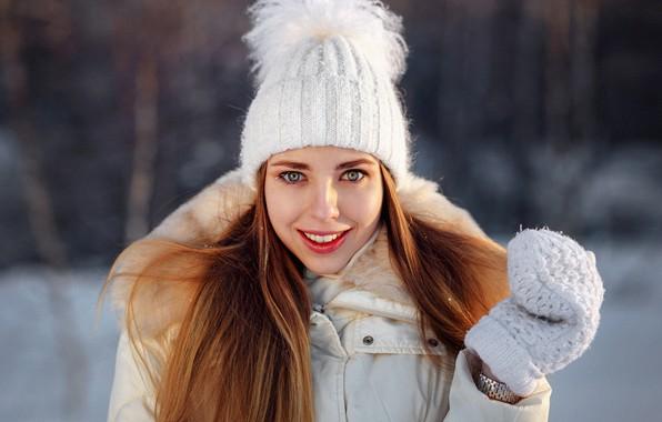 Picture winter, smile, hat, Girl, Alex Kashechkin, Daria Dementieva