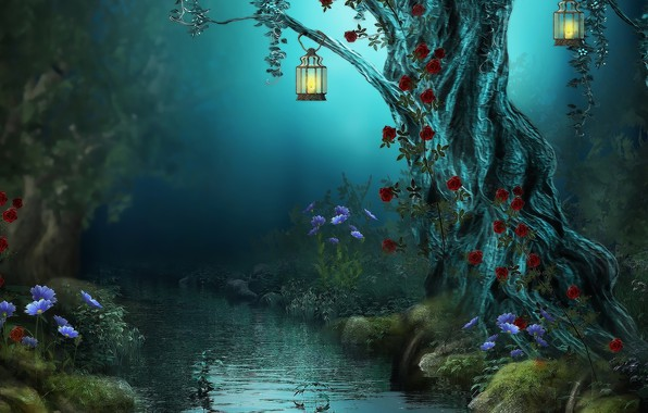 Picture flowers, night, nature, stream, lights, magic forest, old tree