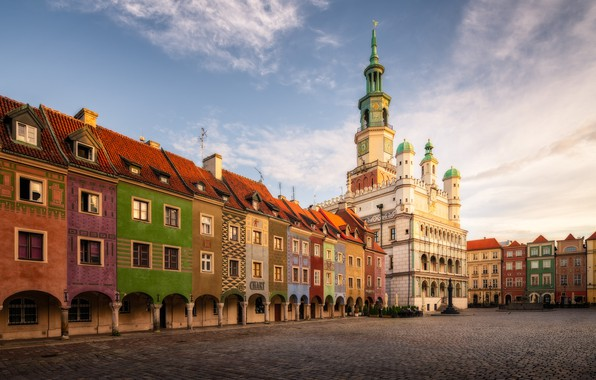 Picture building, home, area, Poland, colorful, town hall, Poland, Poznan, Poznan, Old Market Square