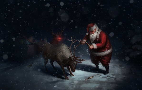 Picture Winter, Night, Snow, Humor, Christmas, Beer, Snowflakes, Background, New year, Tired, Holiday, Santa Claus, Art, …