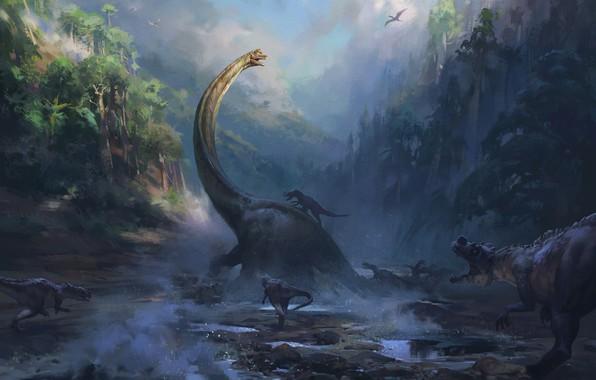 Picture Figure, Morning, Attack, Art, Art, Concept Art, Drama, Predators, Creatures, Dinosaurs, Environments, Nikolai Litvinenko, by …