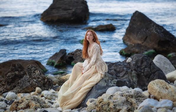 Picture sea, look, girl, pose, stones, rocks, coast, dress, red, redhead, Crimea, The black sea, Oksana, …