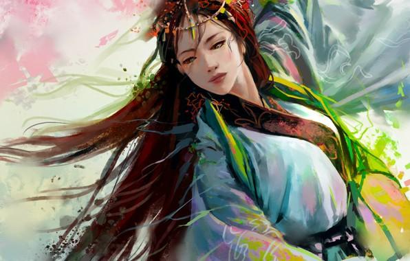 Picture dance, Chinese, decoration, long hair, art, Hannah Jones
