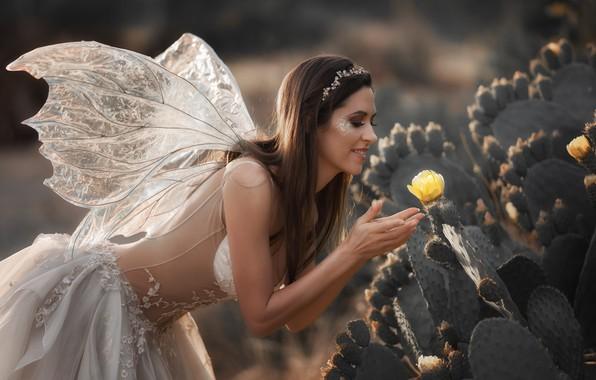 Picture flower, girl, wings, dress, brunette, fairy, cacti, Кузнецова Виктория