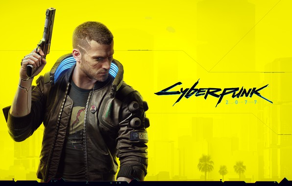Picture yellow, style, gun, weapons, haircut, jacket, cyberpunk, character, Cyberpunk 2077