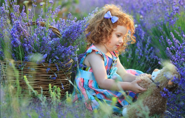 Picture flowers, basket, toy, Girl