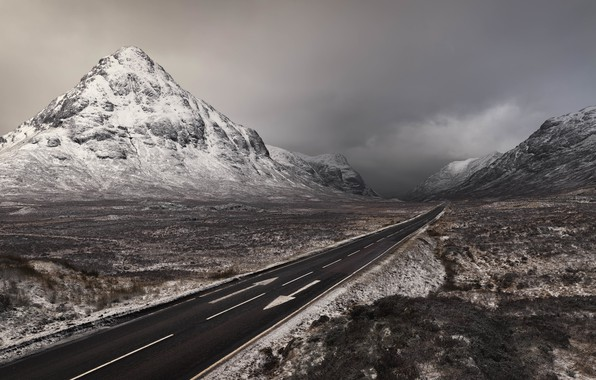 Picture Winter, Scotland, Mountains, Road, Two way ticket