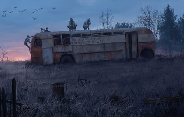 Picture Monsters, Bus, Chernobyl, Pripyat, Art, Horror, Chernobyl, Monster, Stefan Koidl, by Stefan Koidl, Chernobyl Horror …