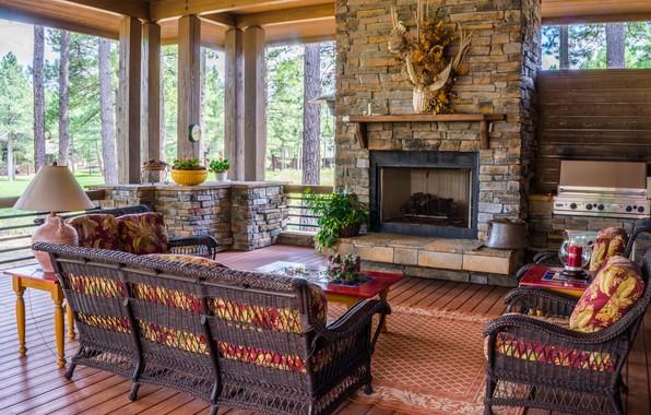Picture furniture, lamp, interior, carpet, fireplace, table, veranda