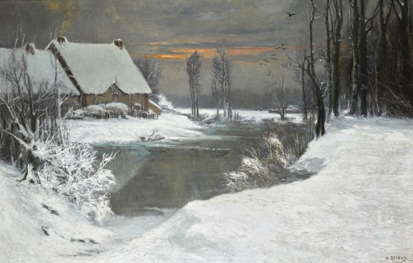 Picture snow, trees, sunset, birds, house, river, the bushes, WINTER LANDSCAPE, Attributed to Ivan Avgustovich Veltz