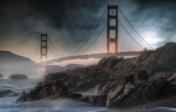 Picture night, bridge, rocks