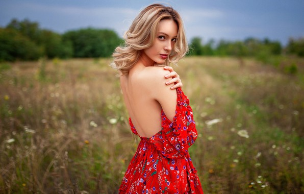 Picture field, grass, look, trees, nature, pose, model, back, portrait, makeup, figure, dress, hairstyle, blonde, beauty, …