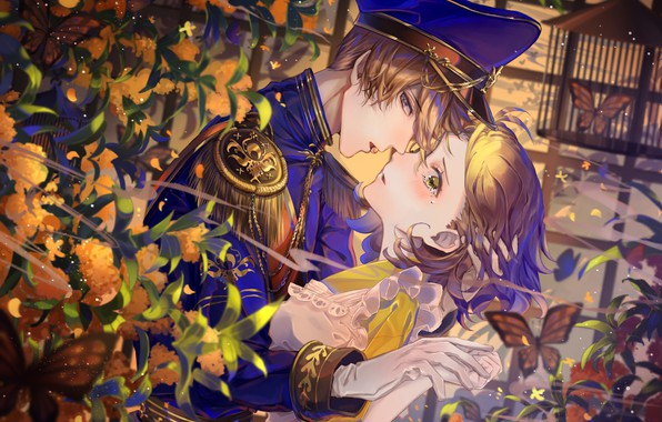 Picture butterfly, hugs, gloves, blush, cap, tears, art, military uniform, almost kiss, in the garden, epaulettes, …