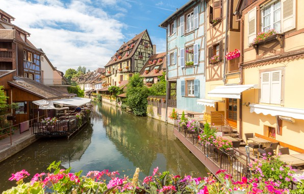 Picture river, street, France, home, France, flowers, street, buildings, town, cityscape, canal, Colmar