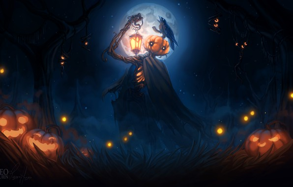 Picture lights, dark, Halloween, moon, grass, fantasy, forest, sky, trees, crow, night, dusk, night sky, holiday, …