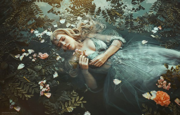 Picture leaves, water, girl, flowers, pose, mood, the situation, hands, makeup, dress, closed eyes, Marketa Novak, …