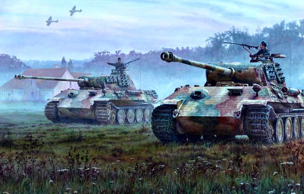Picture Grass, House, RAF, Panther, Hawker Typhoon, PzKpfw V Panther, Western front, Aircraft, Tankers