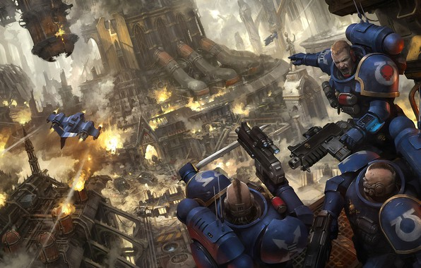 Picture space Marines, space marines, Warhammer, Ultramarines, Ultramarines, Warhammer 40 000, nastolka, City battles, Urban Conquest