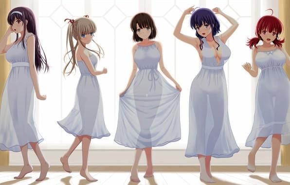 Picture girl, sexy, dress, boobs, anime, beautiful, pretty, breasts, attractive, handsome, kasumigaoka utaha, catholic megumi, transparency, …