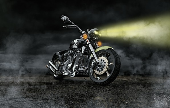 Picture design, darkness, ray, motorcycle, Hell Missioner